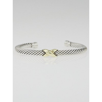 David Yurman 5mm Sterling Silver and 14k Gold Crossover X Bracelet