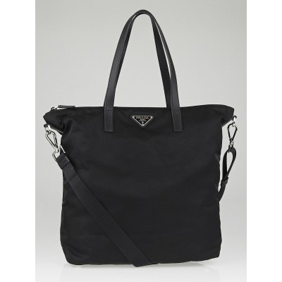 Prada Black Vela Nylon and Saffiano Leather Tote Bag BR4696