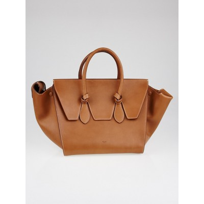 Celine Tan Calfskin Leather Small Tie Tote Bag