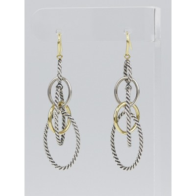 David Yurman Sterling Silver and 18k Gold Mobile Chain Drop Earrings