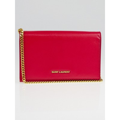 Saint Laurent Pink Grain de Poudre Patent Leather Classic Letters Chain Clutch Bag