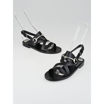Gucci Black Leather Horsebit Strappy Flat Sandals Size 5.5/36