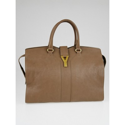 Yves Saint Laurent Taupe Leather Large Cabas ChYc Bag