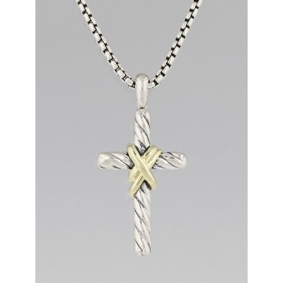 David Yurman Sterling Silver and 14k Gold X Cross Pendant Necklace
