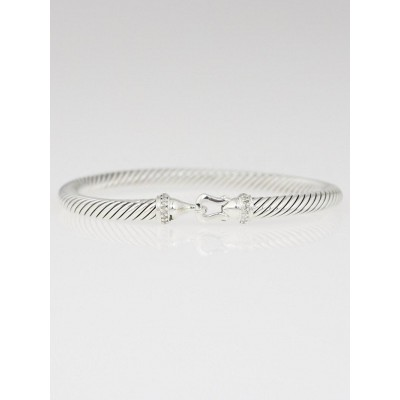 David Yurman 5mm Sterling Silver and Diamond Cable Buckle Bracelet