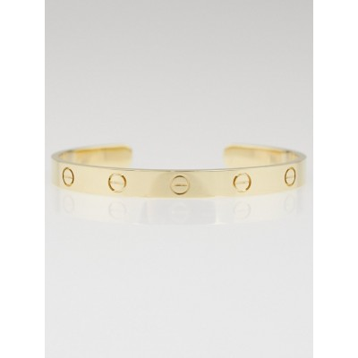Cartier 18k Yellow Gold Open Love Bracelet Size 17