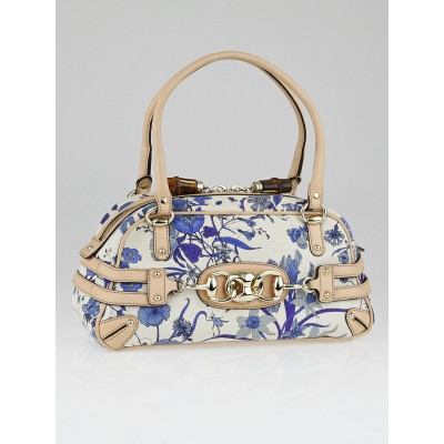 Gucci Blue Floral Canvas Wave Boston Bag