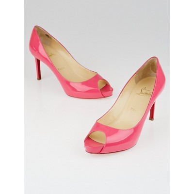 Christian Louboutin Pink Patent Leather No Matter 85 Peep Toe Pumps Size 8/38.5