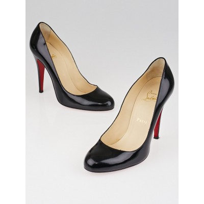 Christian Louboutin Black Patent Leather Simple 100 Pumps Size 8/38.5