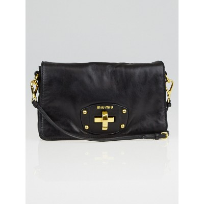 Miu Miu Black Nappa Leather Bandoliera Crossbody Bag RT0488