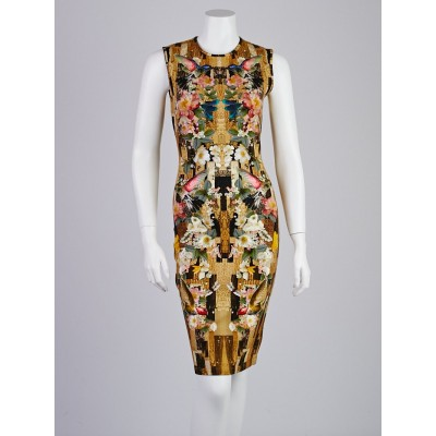 Alexander McQueen Geometric Hummingbird Print Jersey Sleeveless Dress Size 8/42