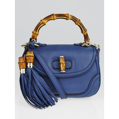 Gucci Blue Pebbled Leather New Bamboo Small Top Handle Bag