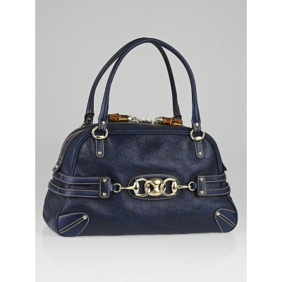 Gucci Navy Blue Guccissima Leather Wave Boston Bag