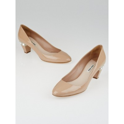 Miu Miu Nude Patent Leather Jewel-Heel Pumps Size 6.5/37