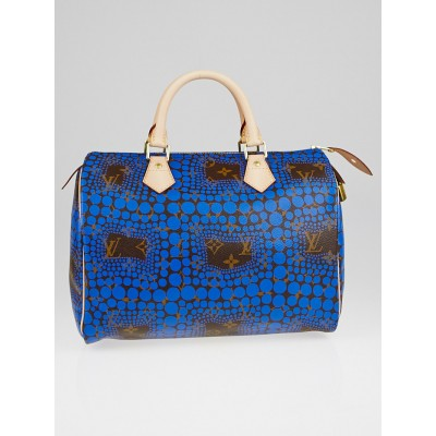 Louis Vuitton Limited Edition Blue Yayoi Kusama Monogram Town Speedy 30 Bag
