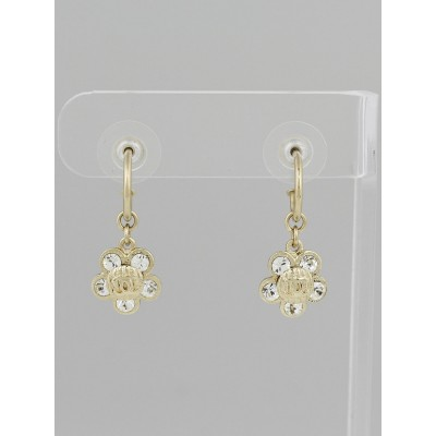 Chanel Goldtone Metal and Crystal Camellia Flower Drop Earrings