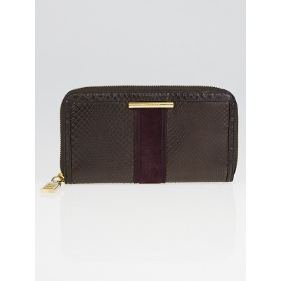 Burberry Dark Chocolate Python Large Zip Around Ziggy Wallet