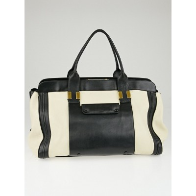 Chloe Black/White Colorblock Leather Large Alice Tote Bag