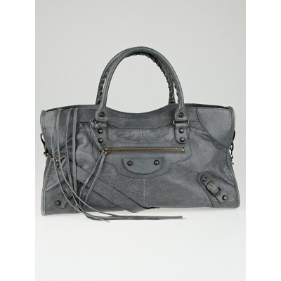 Balenciaga Gris Tarmac Lambskin Leather Part Time Bag
