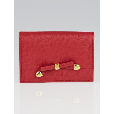 Prada Fuoco Saffiano Chic Leather Card Holder 1M0945