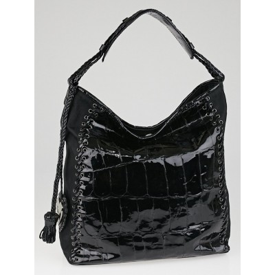 Christian Dior Black Diorissimo Nylon and Patent Leather Grommet Heart Charm Ethnic Hobo Bag