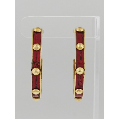 Louis Vuitton Grenadine Leather and Metal Gimme a Clue Hoop Earrings
