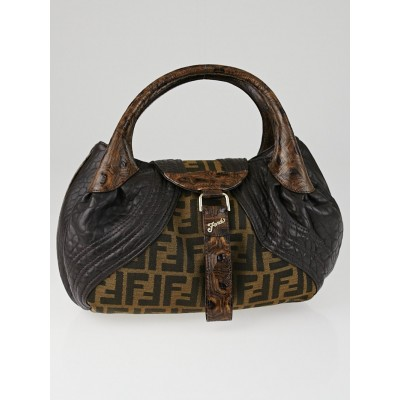Fendi Tobacco Zucca Print and Tortuga Leather Baby Spy Bag