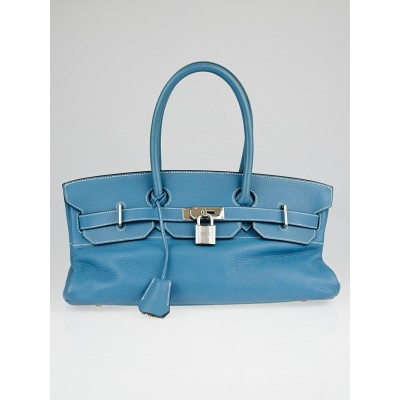 Hermes 42cm Blue Jean Clemence Leather Palladium Plated JPG Birkin Bag