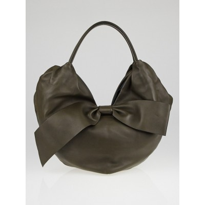 Valentino Grey Nappa Leather 360 Bow Hobo Bag