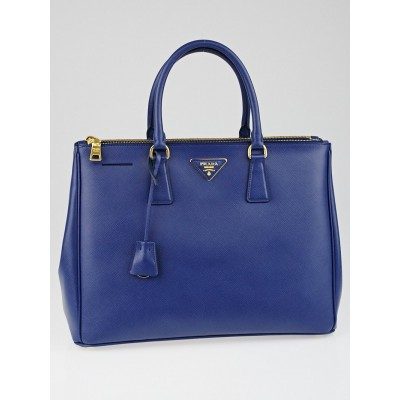 Prada Bluette Saffiano Lux Leather Double Zip Large Tote Bag BN1786