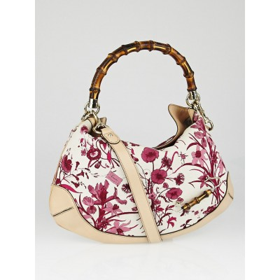 Gucci Pink Floral Canvas and Bamboo Peggy Top Handle Hobo Bag
