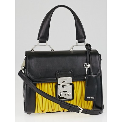 Miu Miu Black and Sunny Yellow Matelasse Nappa Leather Top Handle Bag R1132C