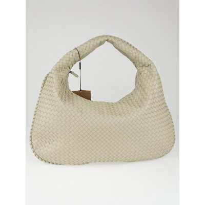 Bottega Veneta New Grey Intrecciato Woven Nappa Leather Maxi Veneta Hobo Bag