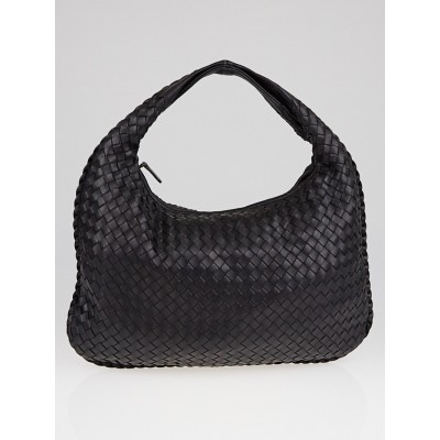 Bottega Veneta Black Intrecciato Woven Nappa Leather Medium Veneta Hobo Bag