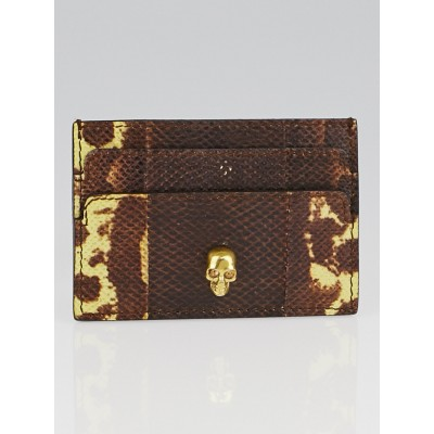 Alexander McQueen Brown Karung Snakeskin Skull Card Holder