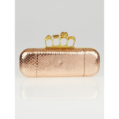 Alexander McQueen Gold Foil Python Knuckle Box Clutch Bag