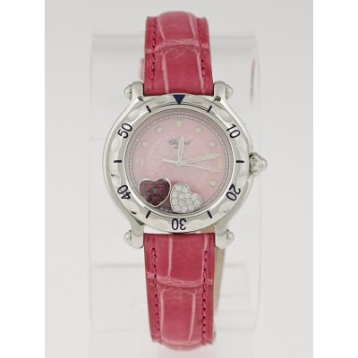 Chopard Pink Stainless Steel and Alligator Happy Sport Happy Hearts Ladies Watch