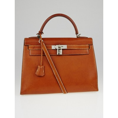Hermes 32cm Natural Peau Porc Leather Palladium Plated Kelly Sellier Bag