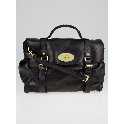 Mulberry Black Soft Buffalo Leather Oversized Alexa Satchel Bag