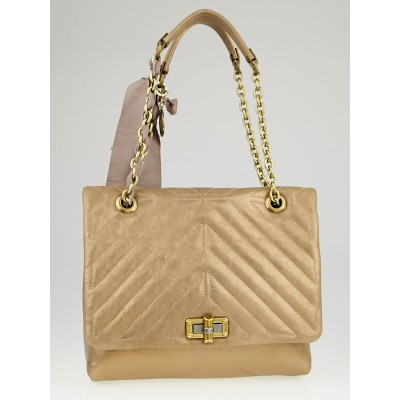 Lanvin Metallic Gold Quilted Leather Happy Medium Bag