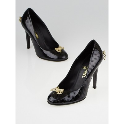 Chanel Black Perforated Patent Leather Bow Pumps Size 5.5/36C