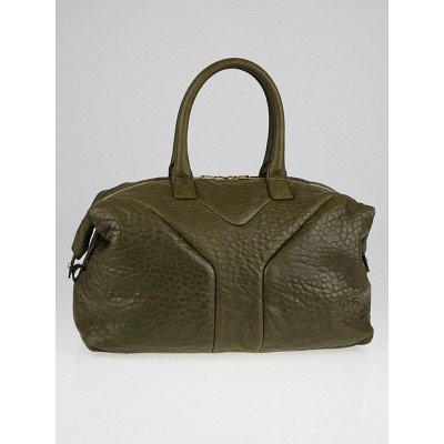 Yves Saint Laurent Khaki Pebbled Leather Easy Y Zip Tote Bag