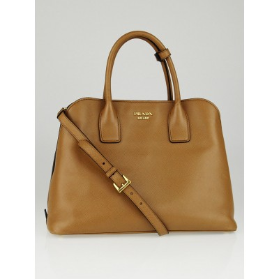 Prada Caramel Saffiano Lux Leather Double Handle Tote Bag BN2668