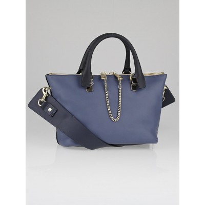 Chloe Street Blue/Navy Leather Two-Tone Small Baylee Tote Bag