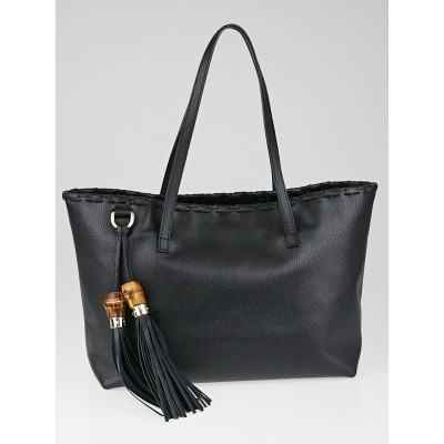 Gucci Black Pebbled Leather Bamboo Tassel Tote Bag