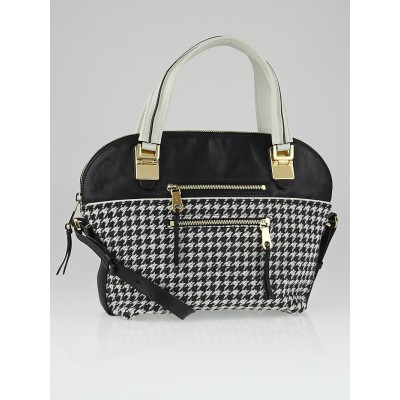 Chloe Black/White Houndstooth and Leather Angie Shoulder Bag