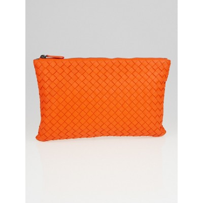 Bottega Veneta Tangerine Intrecciato Nappa Leather Small Document Case