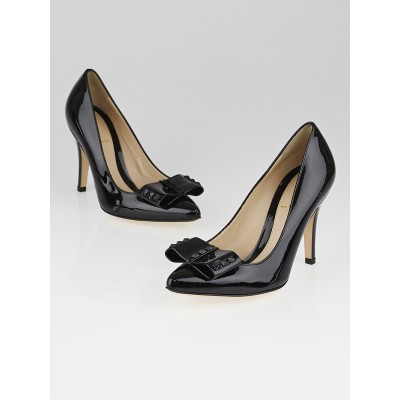 Fendi Black Patent Leather Studded Bow Pumps Size 6/36.5
