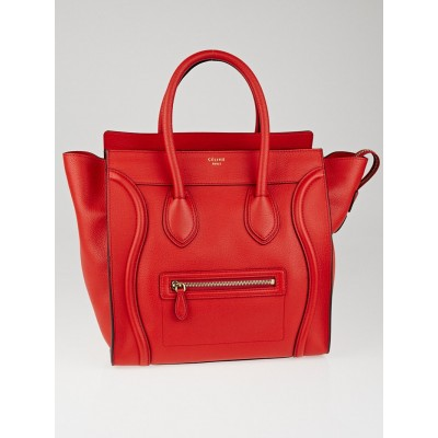 Celine Red Drummed Leather Mini Luggage Tote Bag