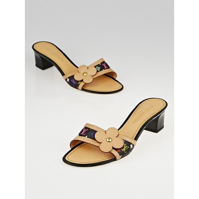 Louis Vuitton Black Monogram Multicolore Slide Sandals Size 6.5/37
